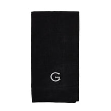 Black Linen Napkin - Initially London