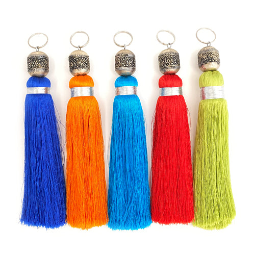 Moroccan Silk Tassel Keyring - Initially London
