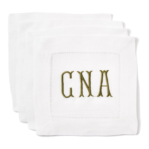 White Linen Coasters (Set of 4) - Initially London