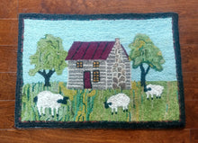 Load image into Gallery viewer, Sheep & Cabin Hooked Rug