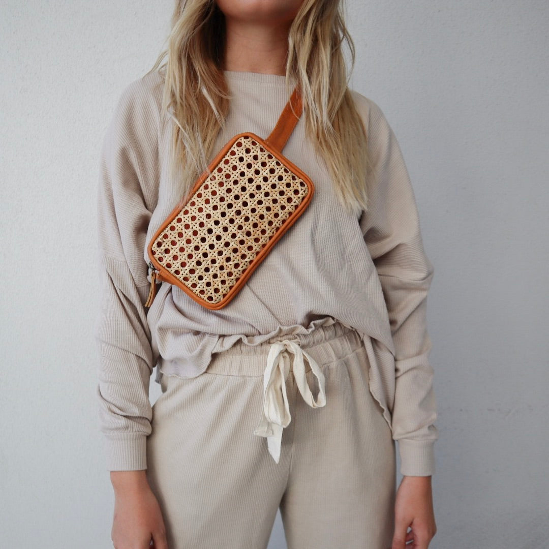 Rattan Cross Body / Belt Bag - NATURAL