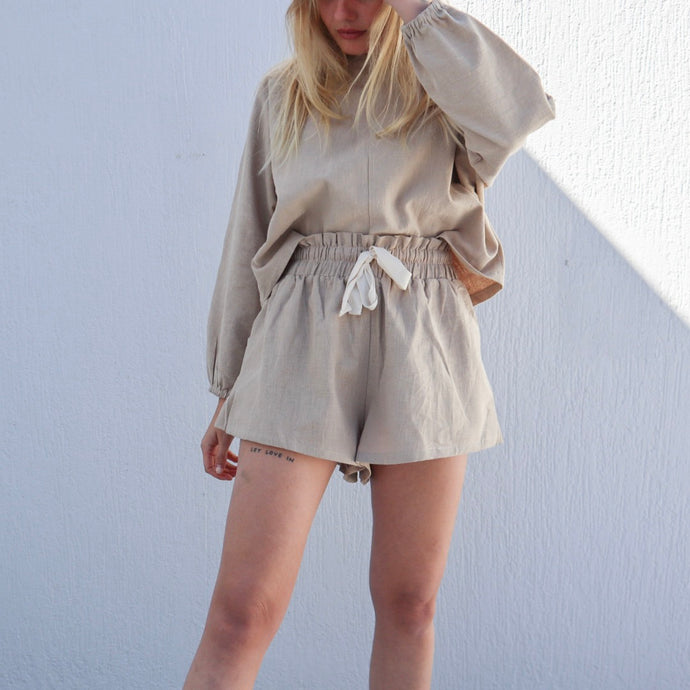 High rise linen shorts - natural
