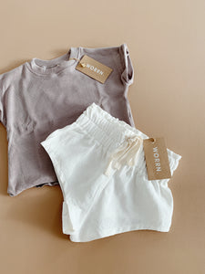 Linen Jogging short- Powder