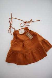 Linen tie swing dress - terracotta