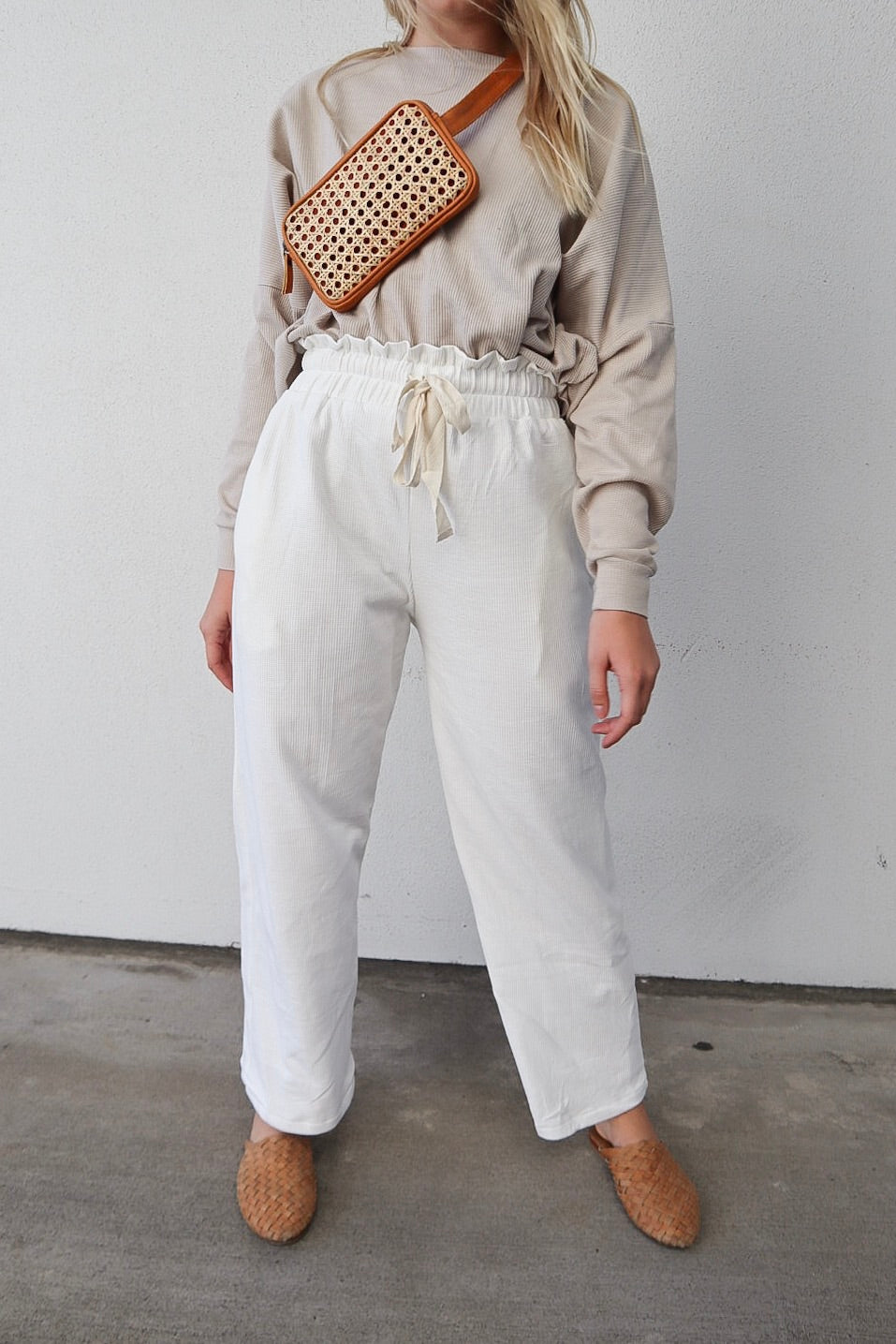 Style 07- Wide Leg Waffle Cotton Trouser- White