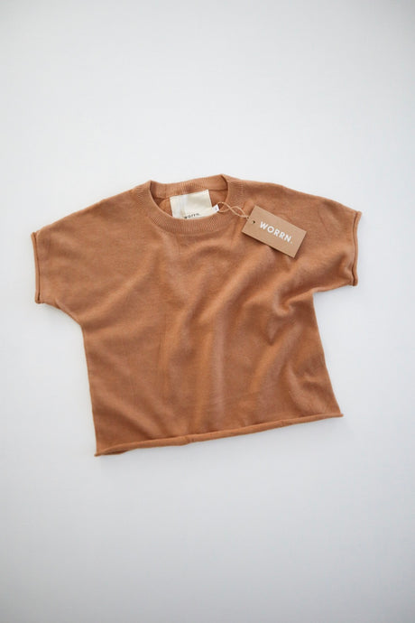 Cotton Knit Basic Tee- Rust