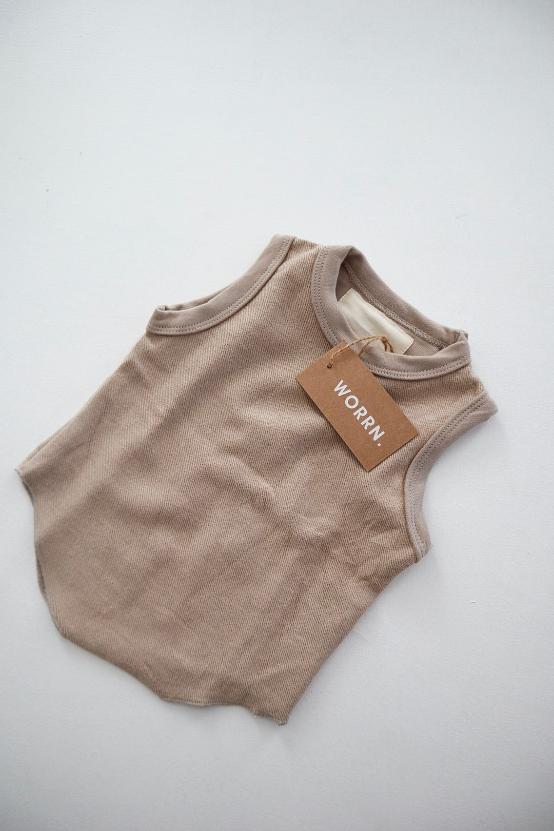 French terry scoop singlet - mushroom