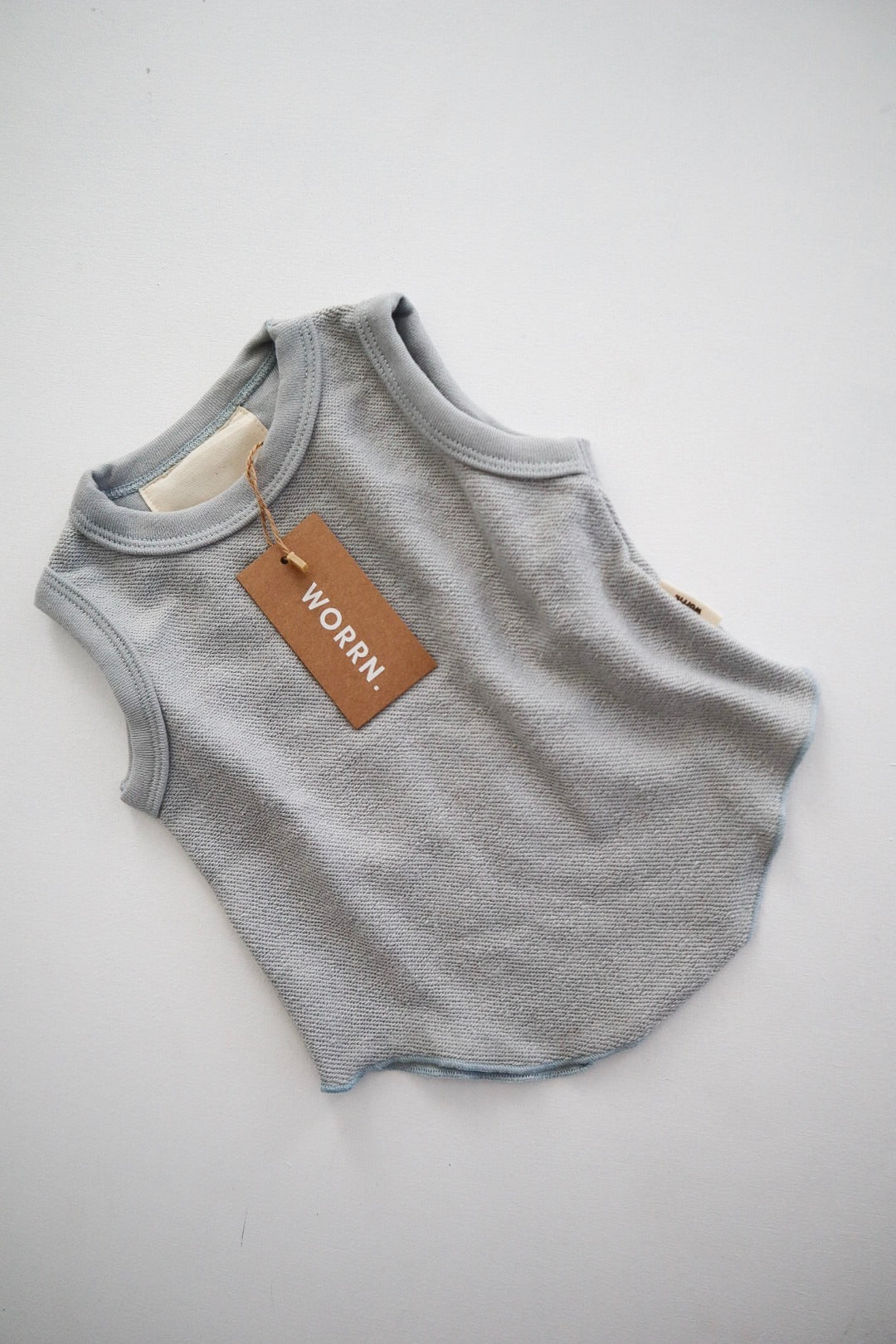 French terry scoop singlet - Sky