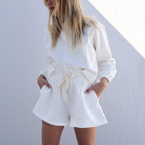 High rise linen shorts - white