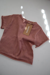 cotton knit basic tee - dusty rose