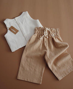 Wide linen pant - natural