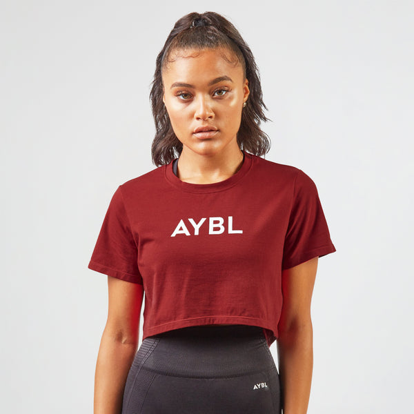 Crop T Shirt - Burgundy