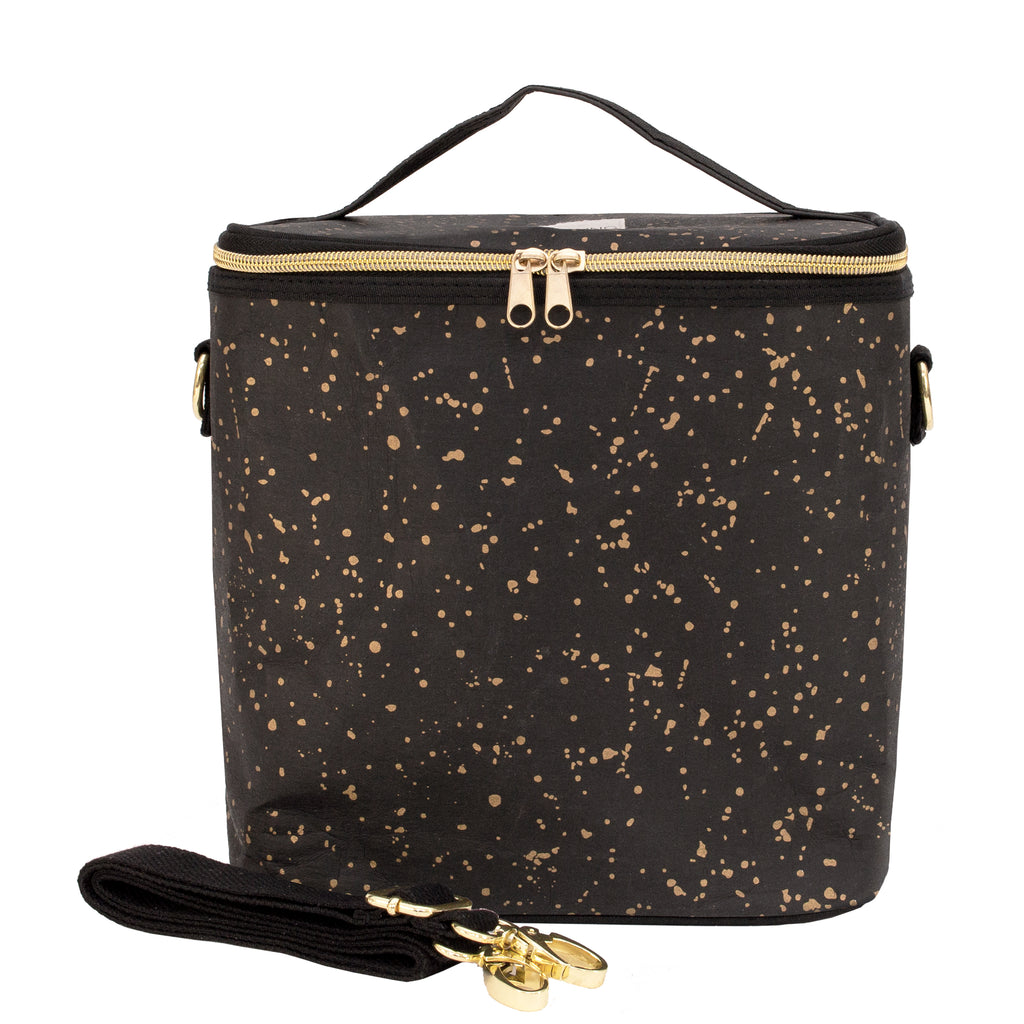 lunch bag black gold splatter