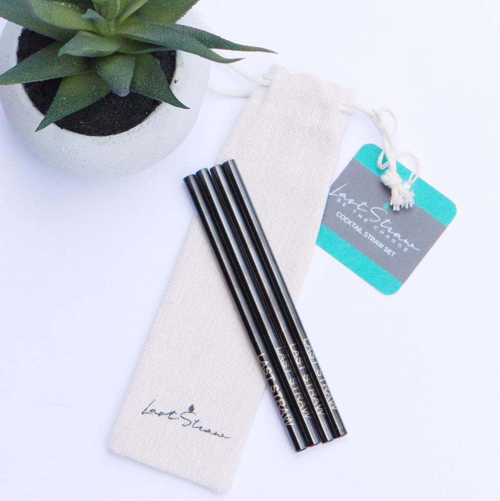 black cocktail straws <br> set of four with pouch