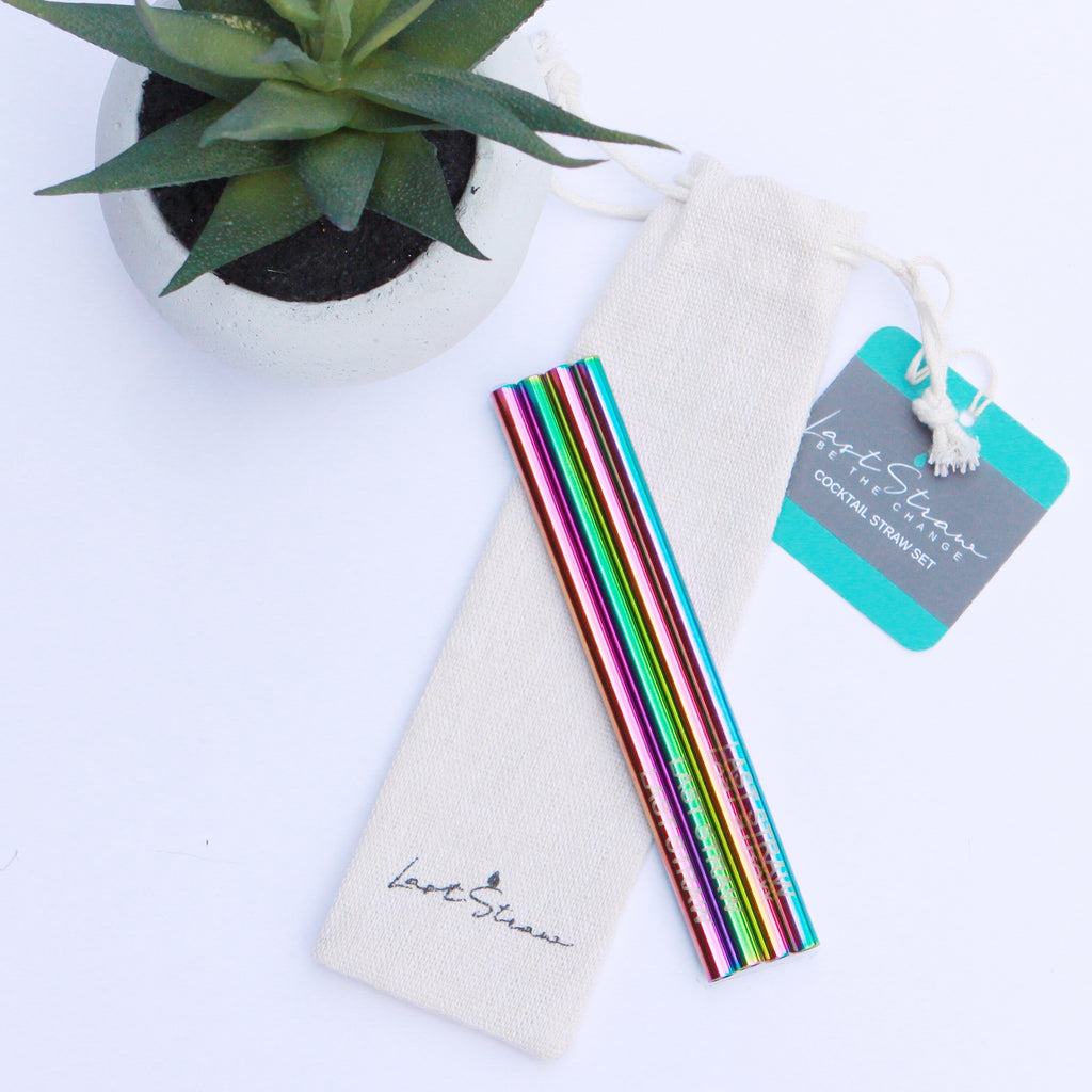 rainbow cocktail straws <br> set of four with pouch