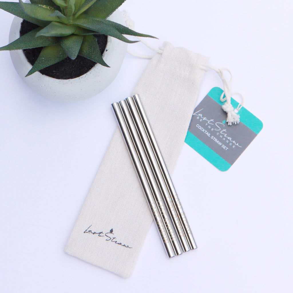 silver cocktail straws <br> set of four with pouch