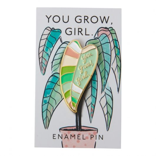 grow girl enamel pin