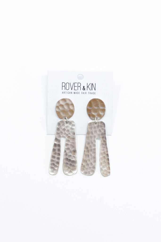Hammered Parabola Earrings - Silver