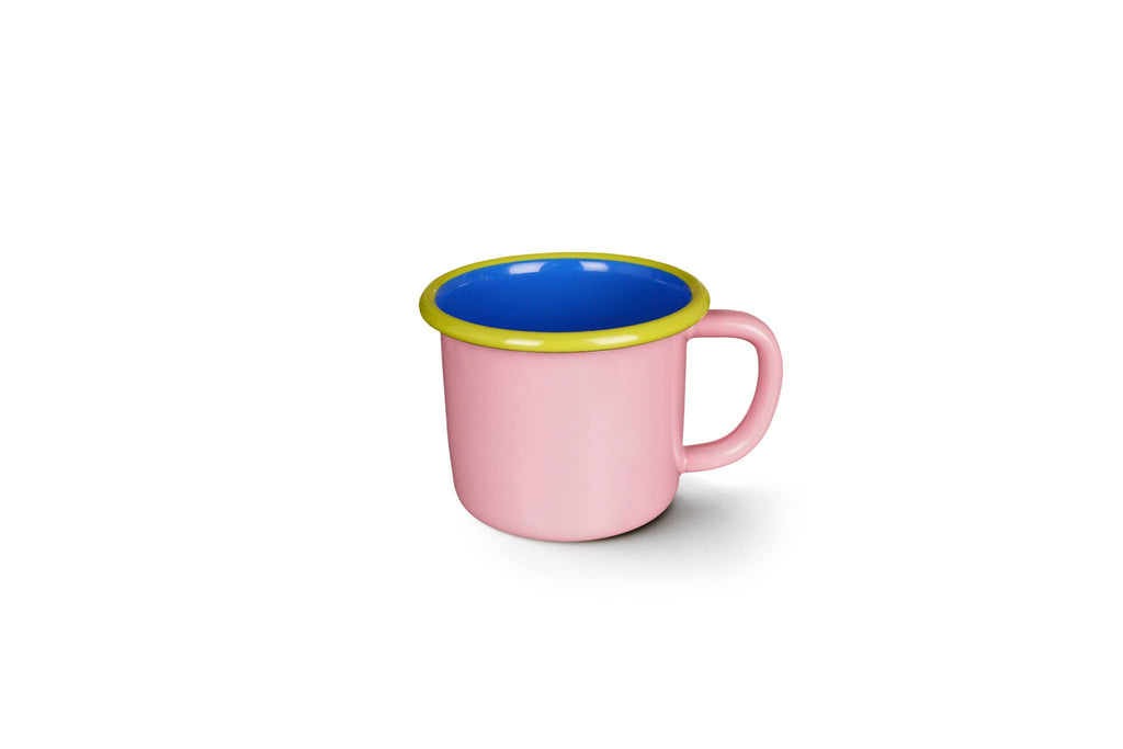Colorama Large Mug 12oz Soft Pink and Electric Blue with Chartreuse Rim