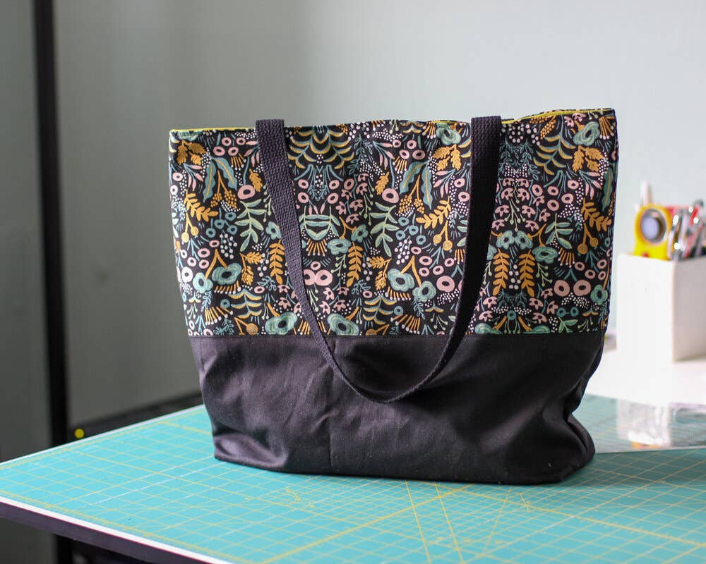 Black Tapestry Waxed Canvas Color Block Tote Bag