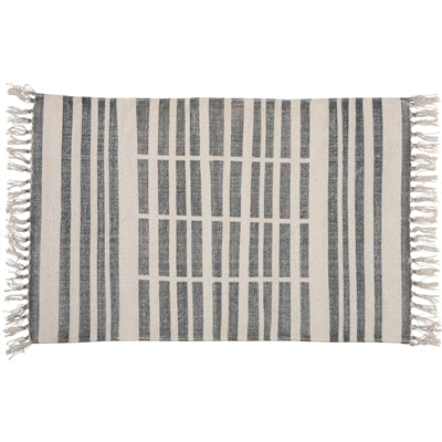 block print broken stripe rug 2x3
