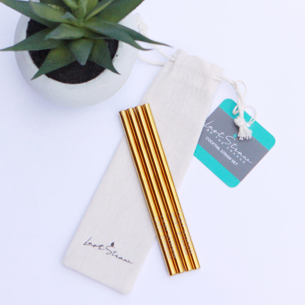 gold cocktail straws <br> set of four with pouch