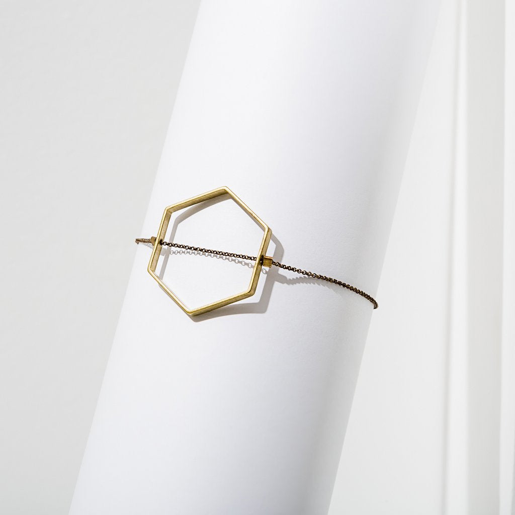 horizon hexagon bracelet in brass