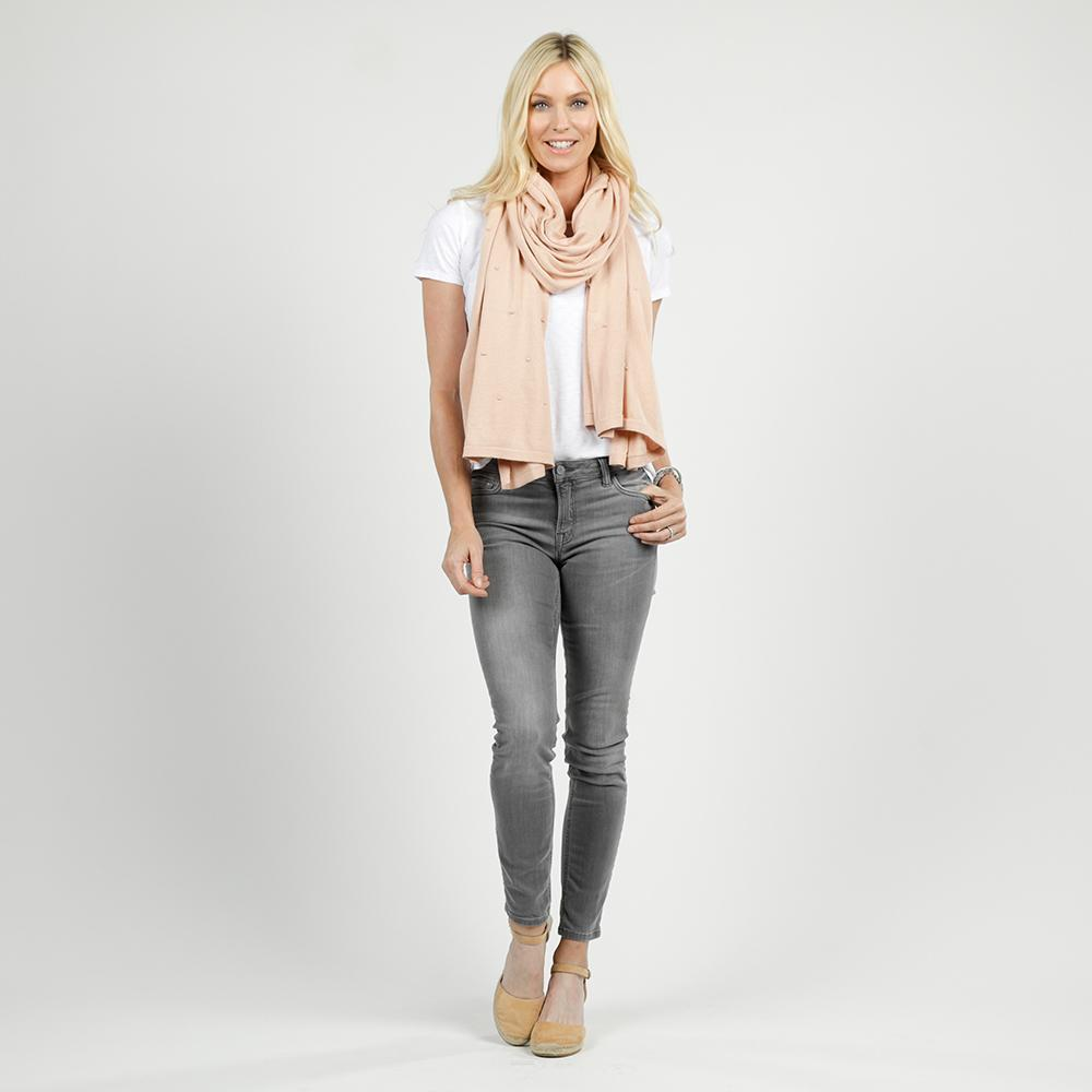 bubble knit travel scarf in blush