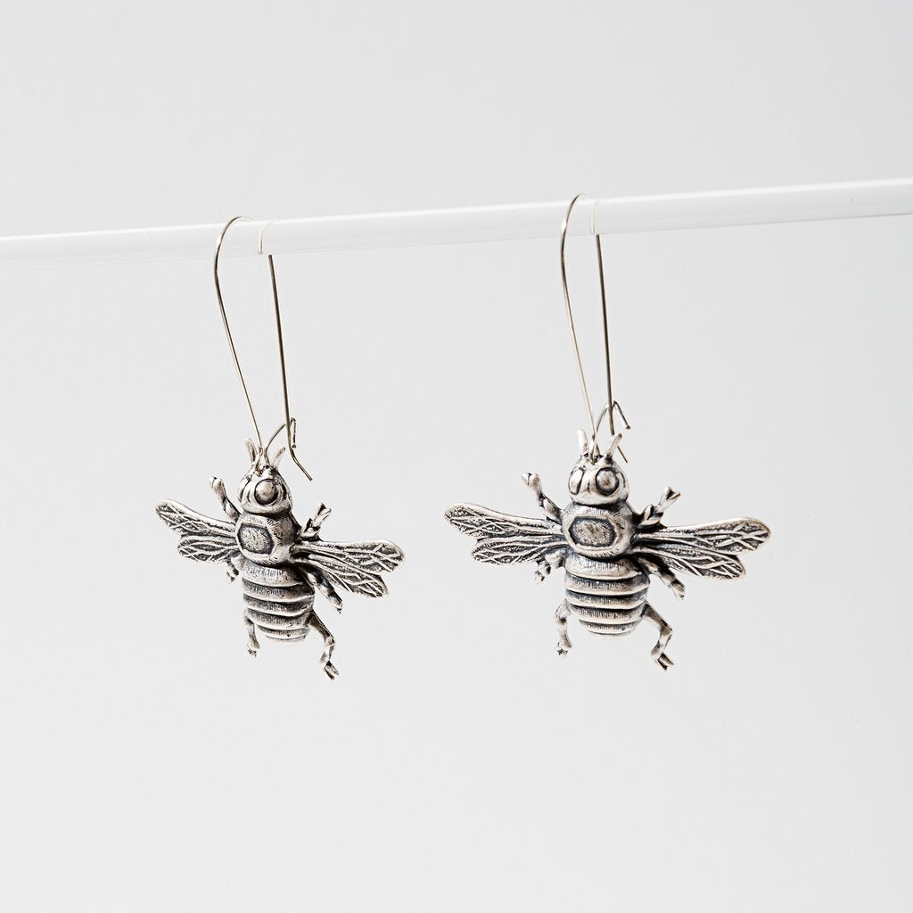 bee earrings in silver