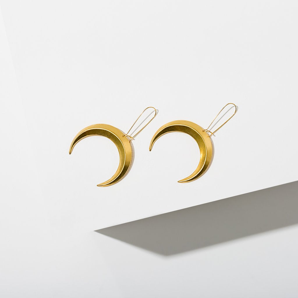 eclipse earrings - brass