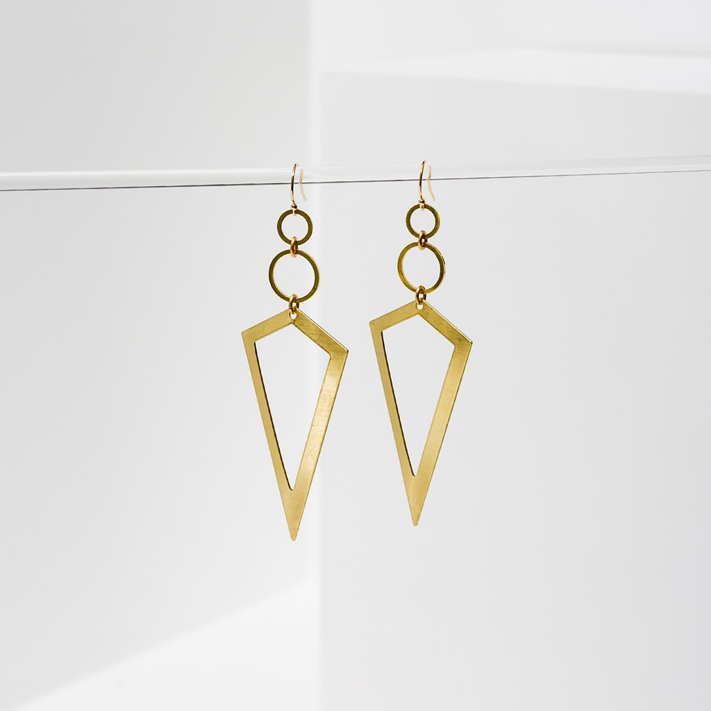 vertigo earrings in brass