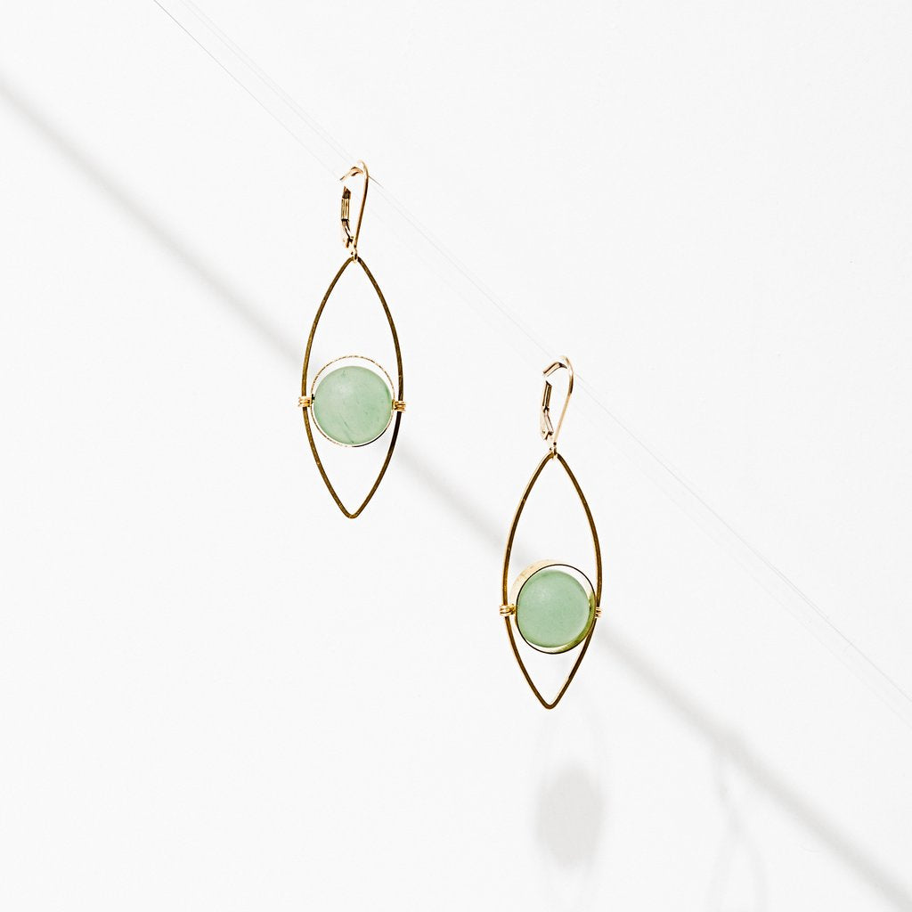 tempest earrings in green aventurine