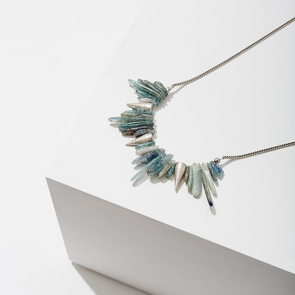 kyanite necklace with silver spikes