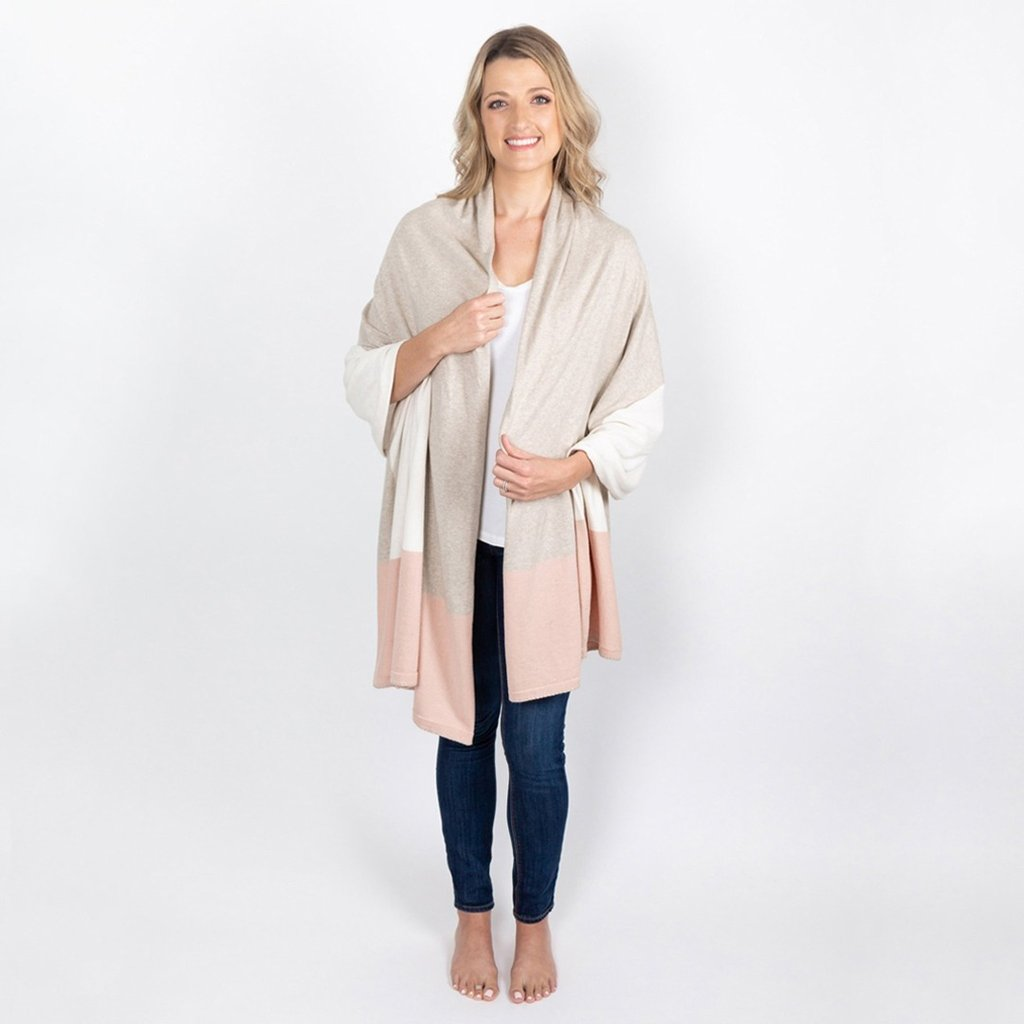 dreamsoft travel scarf blush colorblock