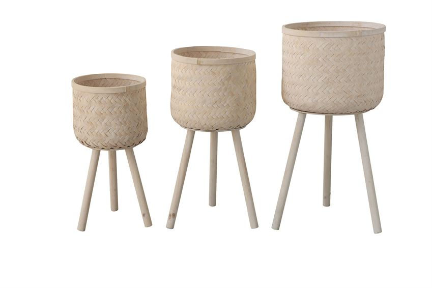 woven bamboo baskets with wooden legs set of 3