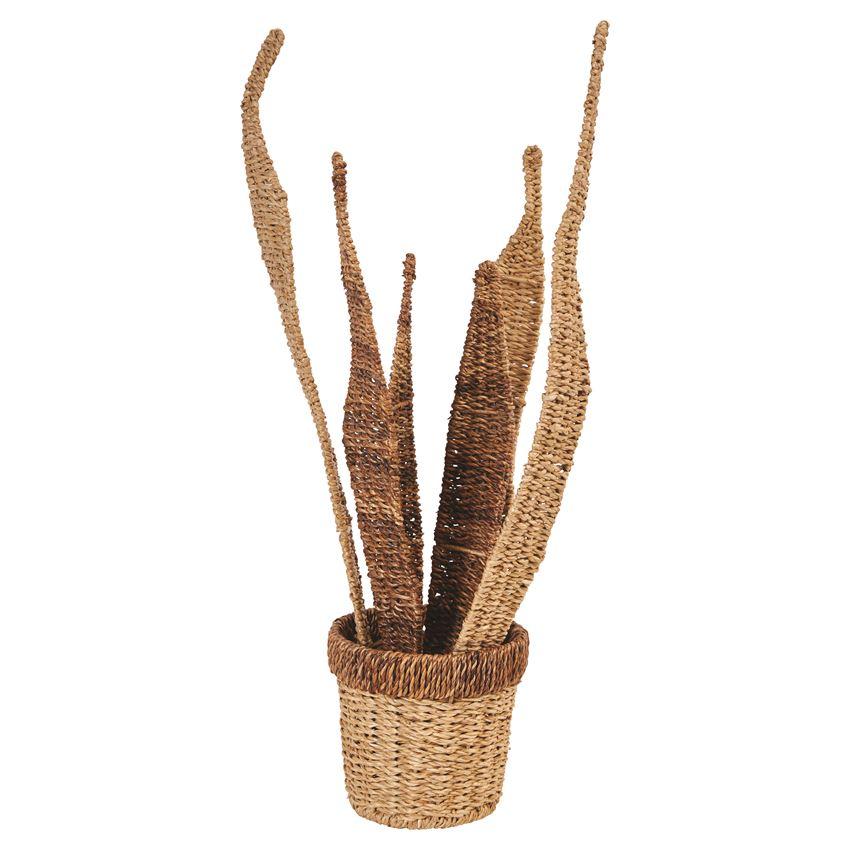 abaca & seagrass potted plant decor