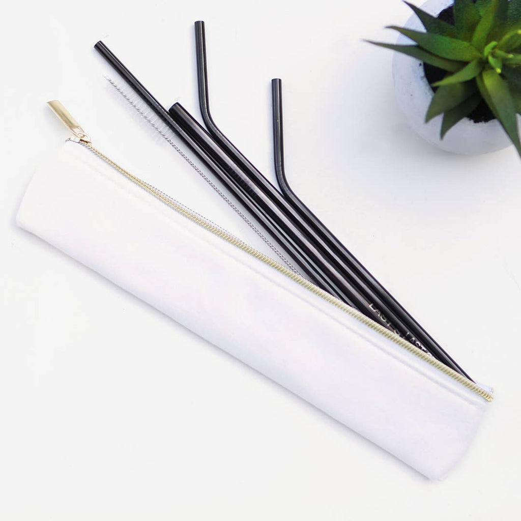 black straw set <br>with brush & zipper pouch
