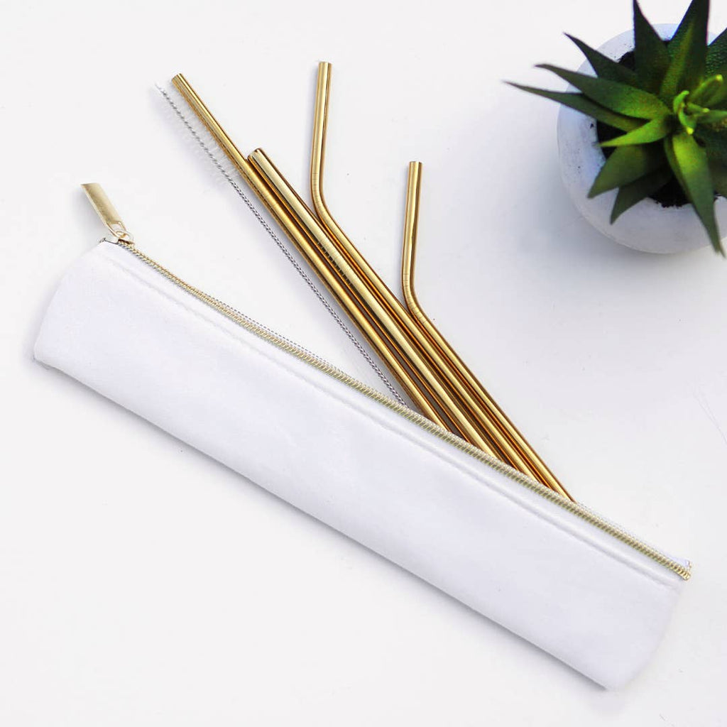 gold straw set <br> with brush & zip pouch