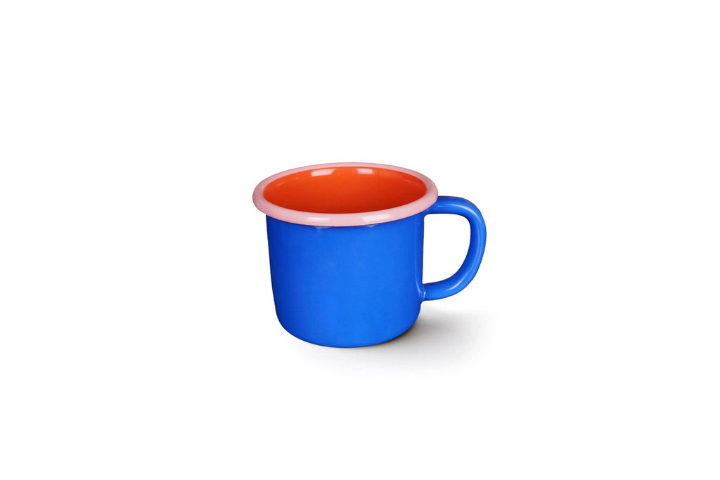 Colorama Large Mug 12oz Electric Blue and Coral with Soft Pink Rim