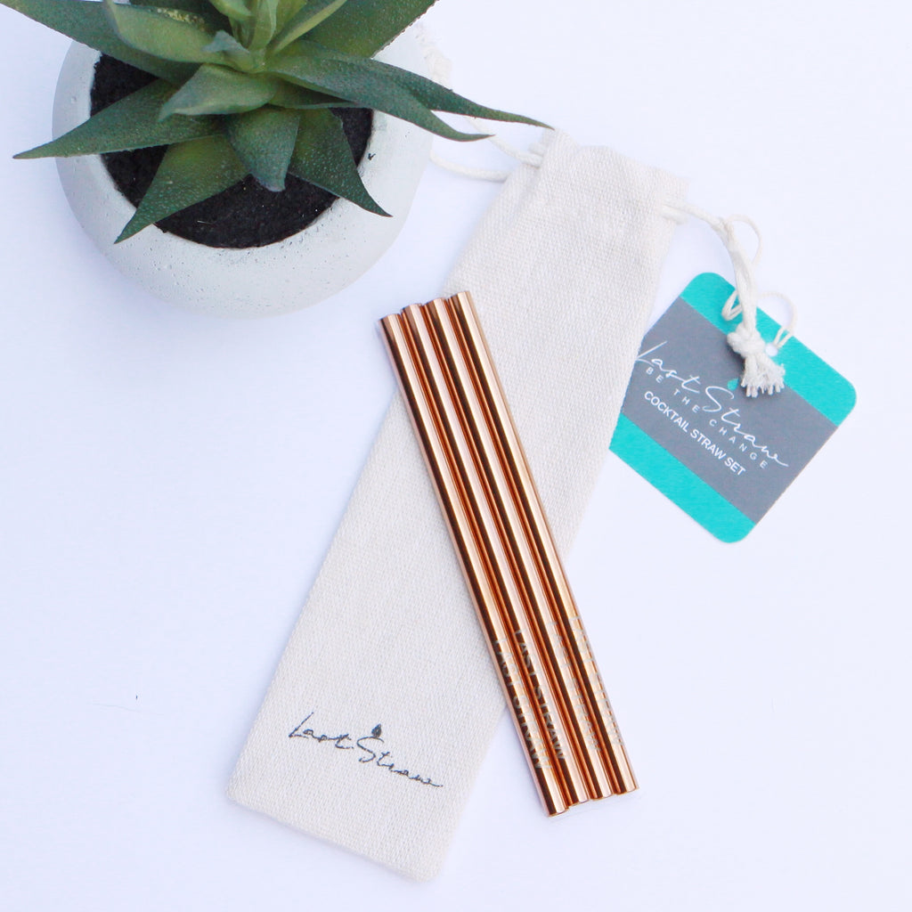 rose gold cocktail straws <br>set of four with pouch