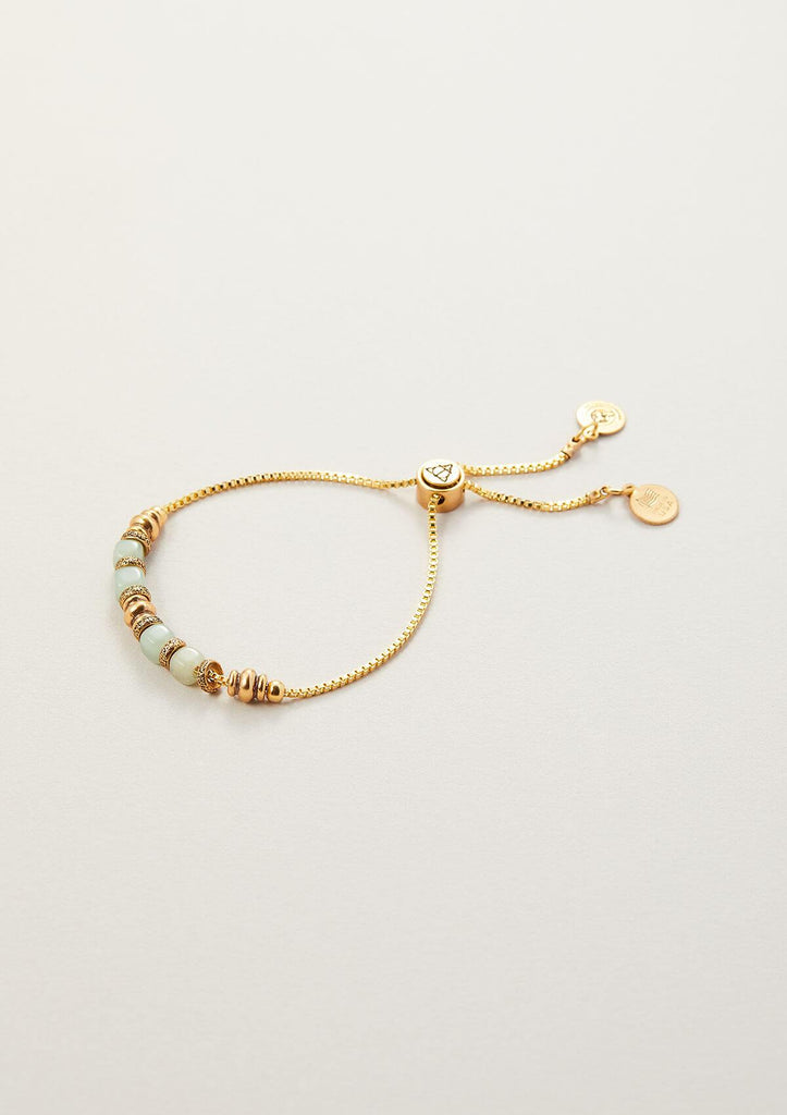 green aventurine beaded adjustable chain bracelet in vintage gold