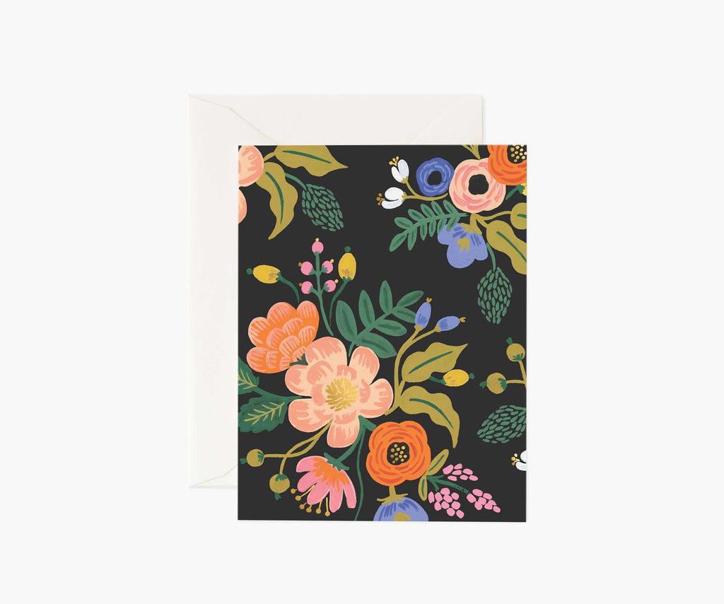 lively floral black card