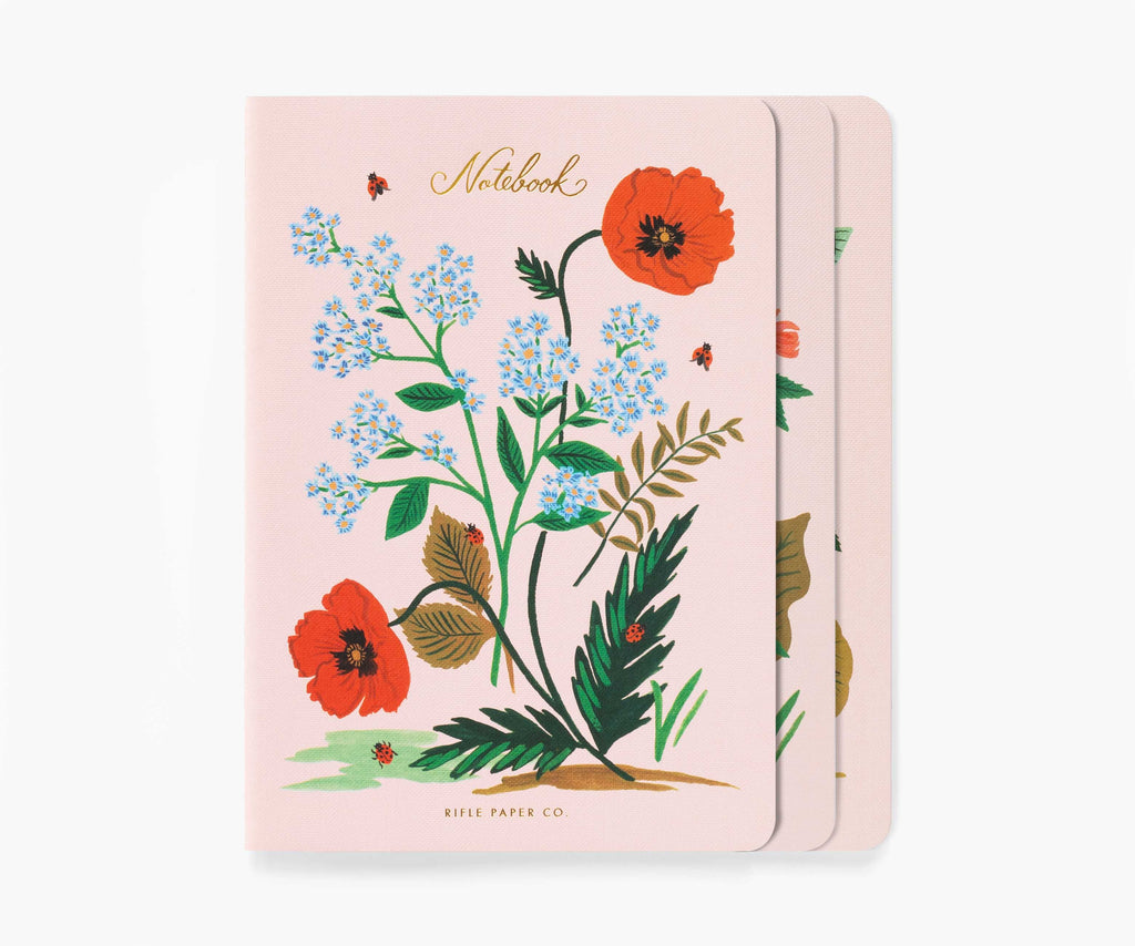 asst set/3 botanical notebooks