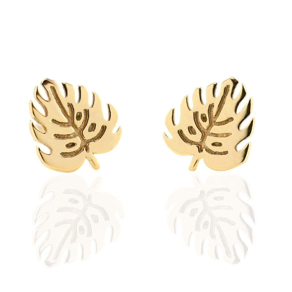 monstera leaf stud earrings in gold