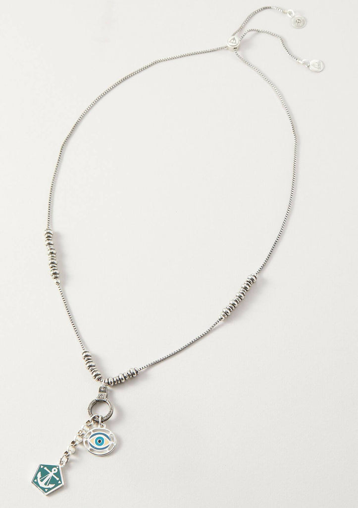 moonstone metal beaded adjustable chain necklace in vintage silver
