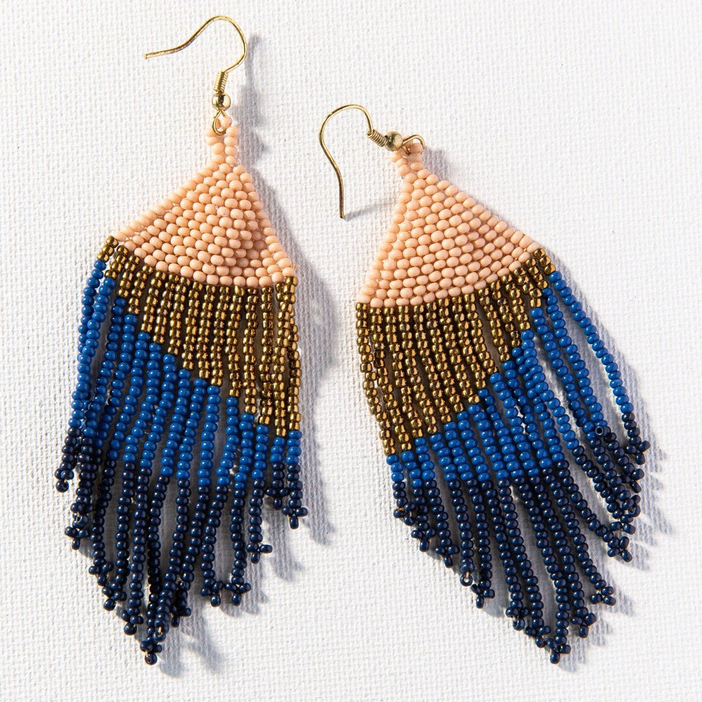 navy lapis gold pink ombre fringe earrings 4""