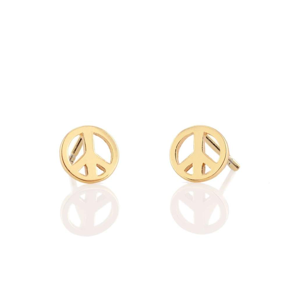 peace stud earrings in gold