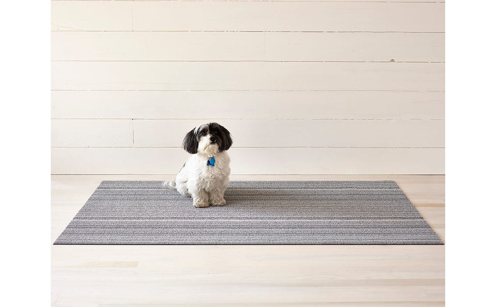 skinny stripe shag mat 18x28 in shadow