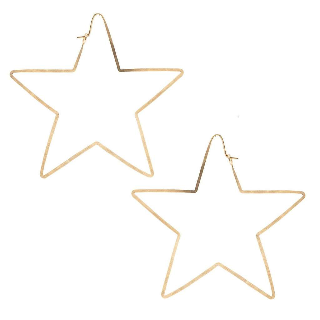 star hammered hoop earrings in gold