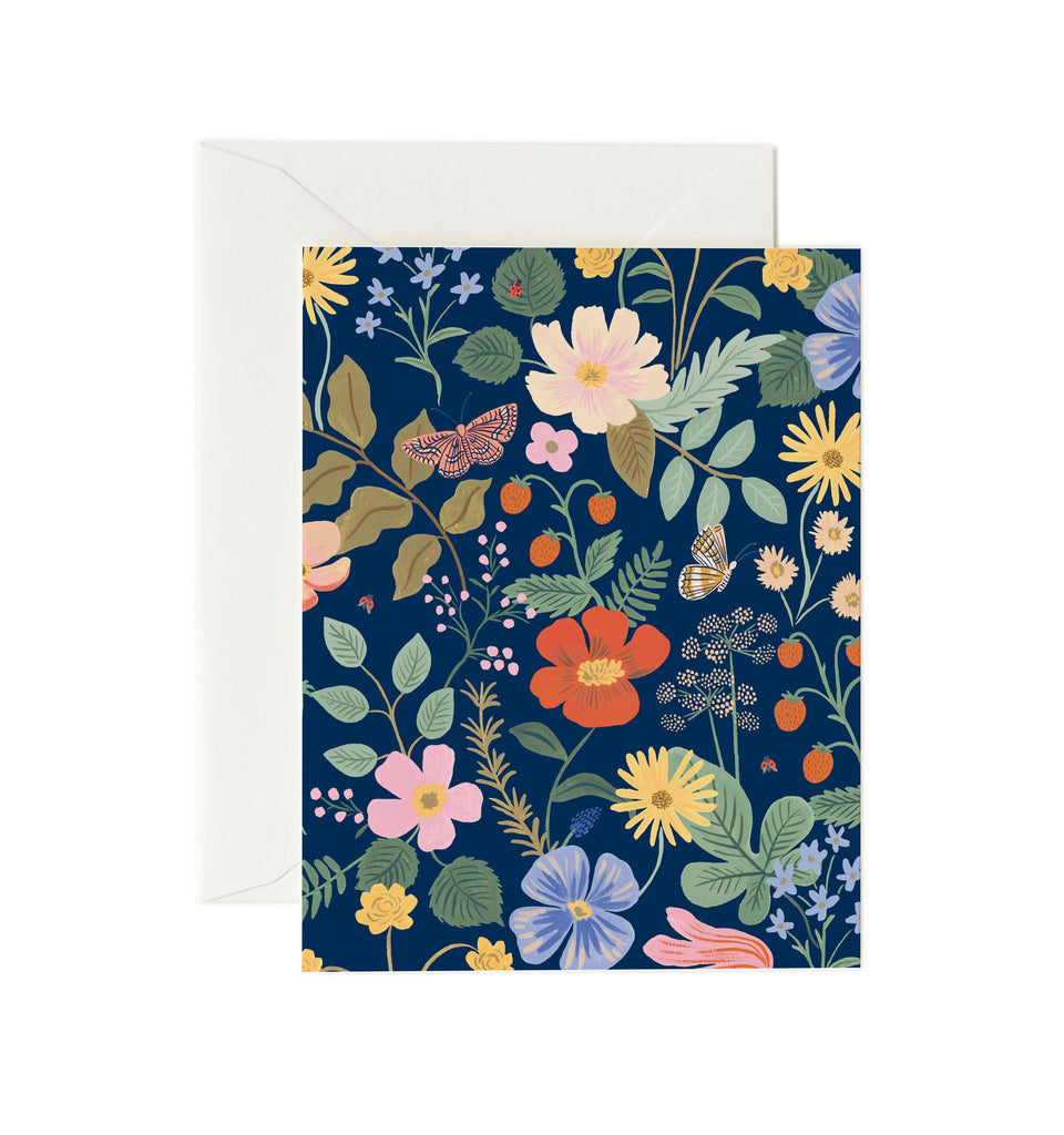 strawberry fields card navy